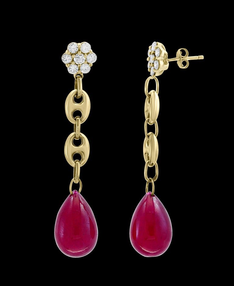 Oval Cut 45 Carat Ruby Drop and Diamond Hanging/Chandelier Earrings 14 Karat Yellow Gold For Sale