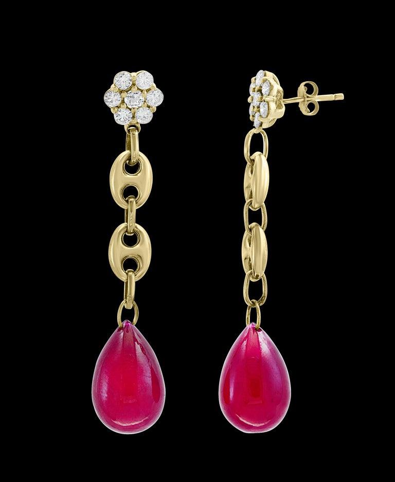 Women's 45 Carat Ruby Drop and Diamond Hanging/Chandelier Earrings 14 Karat Yellow Gold For Sale