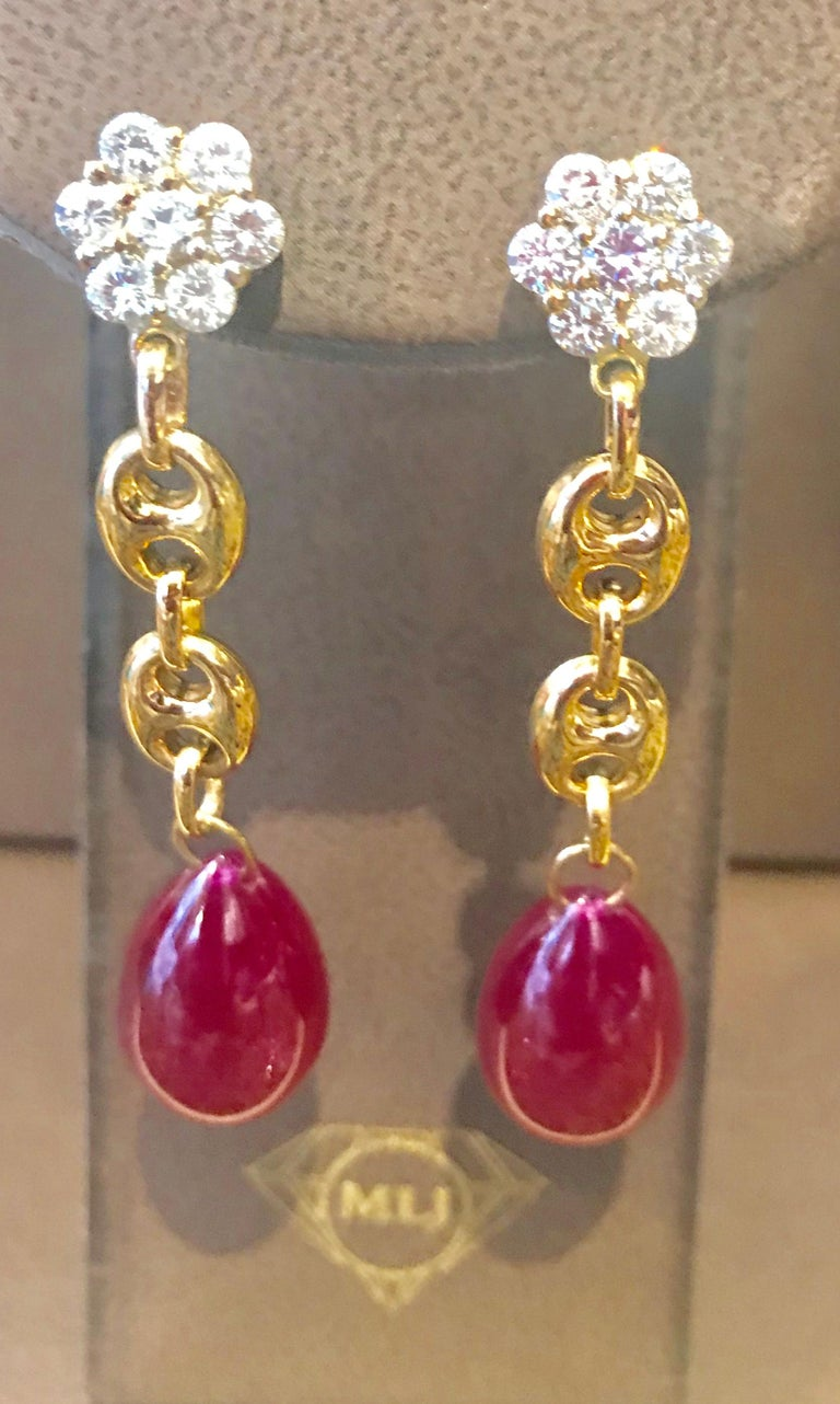 45 Carat Ruby Drop and Diamond Hanging/Chandelier Earrings 14 Karat Yellow Gold For Sale 1