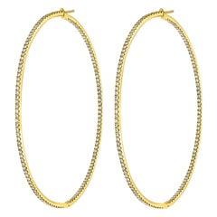4.5 Carat Very Large Diamond Hoop Gala Cocktail Earrings in 14 Karat Yellow Gold