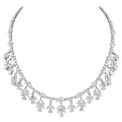 45 Carat VS, E Pear Marquise and Round Diamond Necklace in Platinum, Bridal