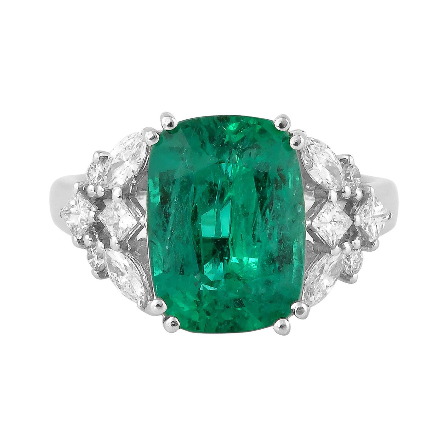 4.5 Carat Zambian Emerald and White Diamond Ring in 18 Karat White Gold