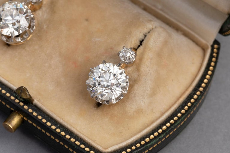 4.5 Carat Antique Belle Epoque French Diamonds Earrings For Sale 5