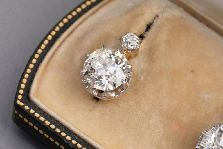 4.5 Carat Antique Belle Epoque French Diamonds Earrings For Sale 6