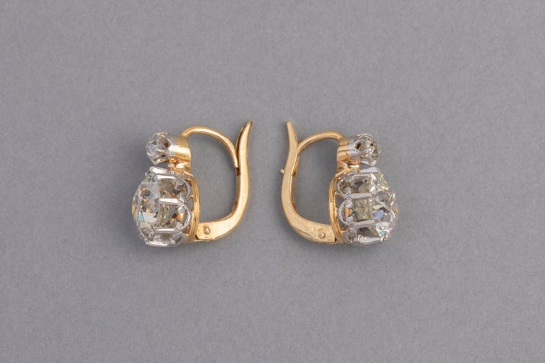 4.5 Carat Antique Belle Epoque French Diamonds Earrings For Sale 1