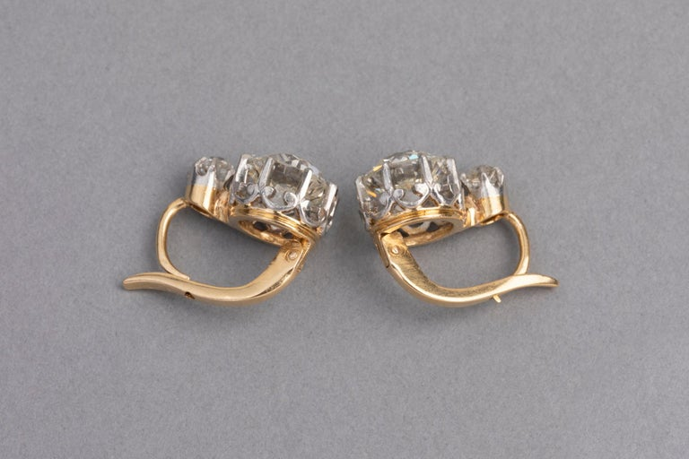 4.5 Carat Antique Belle Epoque French Diamonds Earrings For Sale 2
