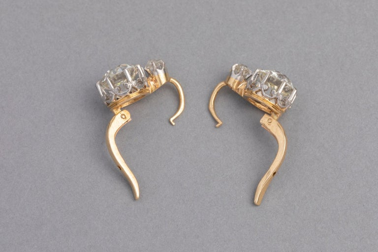 4.5 Carat Antique Belle Epoque French Diamonds Earrings For Sale 3