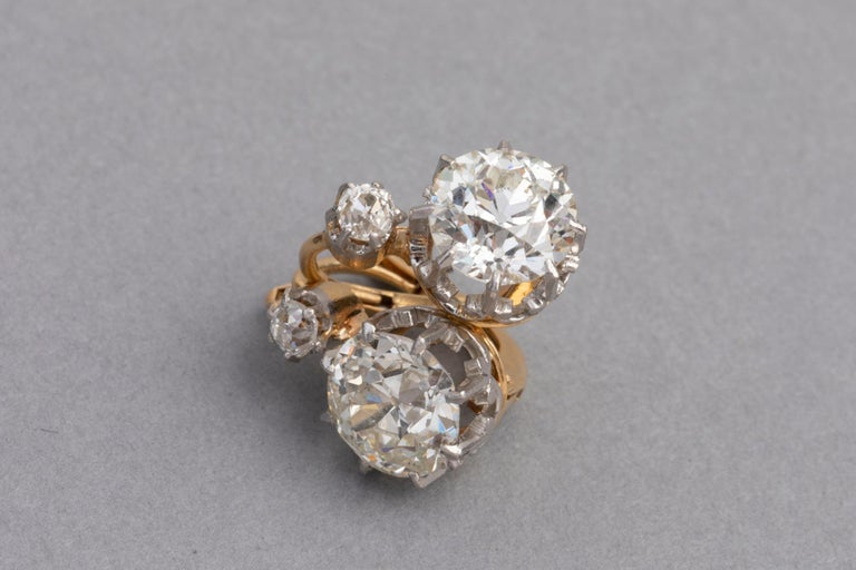 4.5 Carat Antique Belle Epoque French Diamonds Earrings For Sale 4
