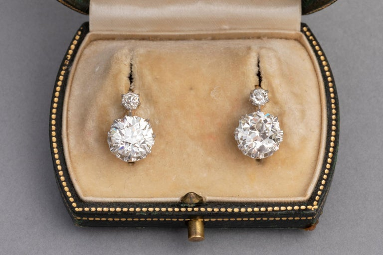 Very beautiful pair of Belle Epoque earrings, made in France circa 1900.  The system is Sleepers / Dormeuses.  The earrings are mounted with Gold 18K and Platinum.   The size of the Two principal Diamonds are exactly 2.17 and 2.18 Carats.  The