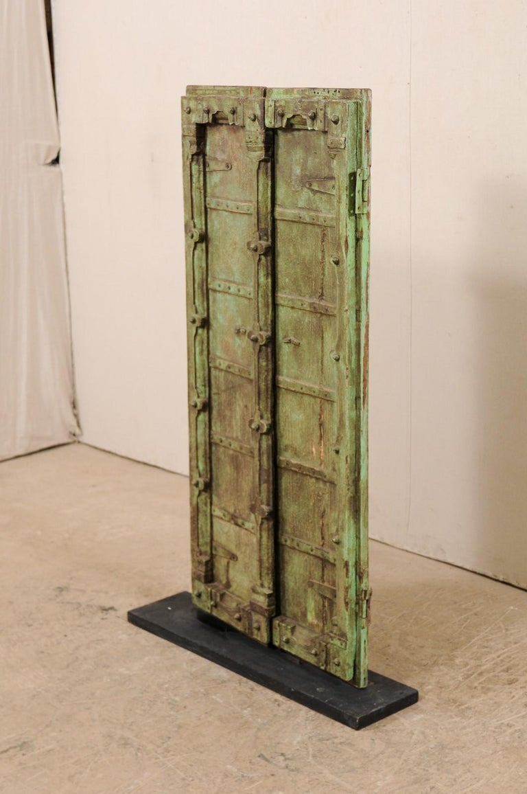 Metal Turn of the Century Doors from India on Custom Stand For Sale