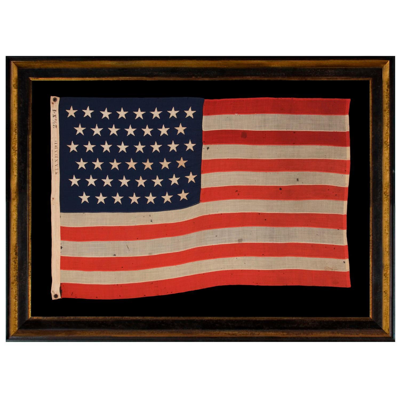 45 Star Antique American Flag, Small Scale, Utah Statehood, circa 1896-1907