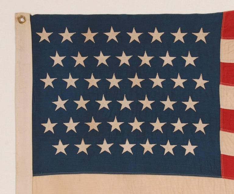 45 Stars on a Attractive Denim Blue Canton, Cotton Bunting American Flag In Good Condition For Sale In York County, PA