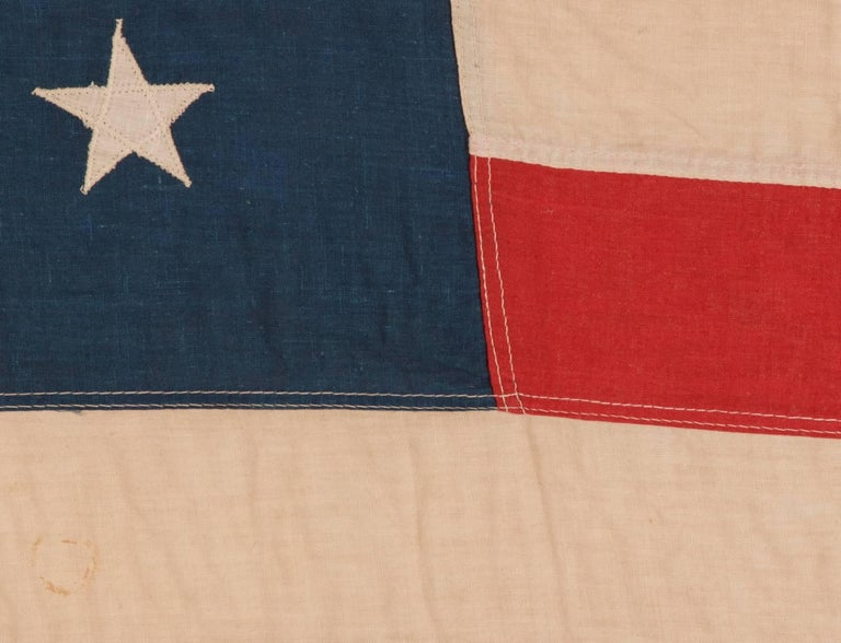 Late 19th Century 45 Stars on a Attractive Denim Blue Canton, Cotton Bunting American Flag For Sale