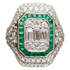 4.50 Carat Art Deco Style Diamond and Emerald 18 Karat White Gold Cocktail Ring