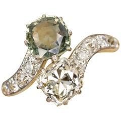 4.50 Carat Authentic 1800 Art Nouveau Toi&Moi Vintage Sapphire Diamond Ring 18 K