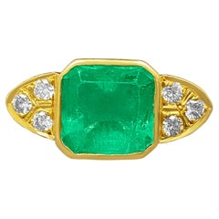 4.50 Carat Bezel Set Emerald and Diamond Cocktail Ring in 18k Solid Gold