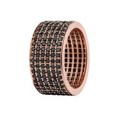 4.50 Carat Black Diamond Micro Pave Eternity Band in 14 Karat Rose Gold