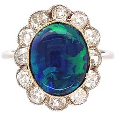 4.50 Carat Black Opal Diamond Gold Platinum Cocktail Ring Estate Fine Jewelry