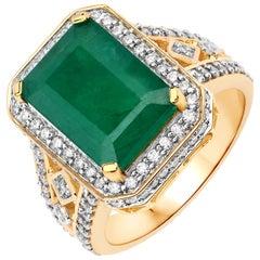 4.50 Carat Brazilian Emerald and Diamond 14 Karat Yellow Gold Cocktail Ring