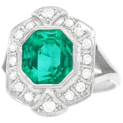 4.50 Carat Colombian Emerald and Diamond Art Deco Ring, GIA