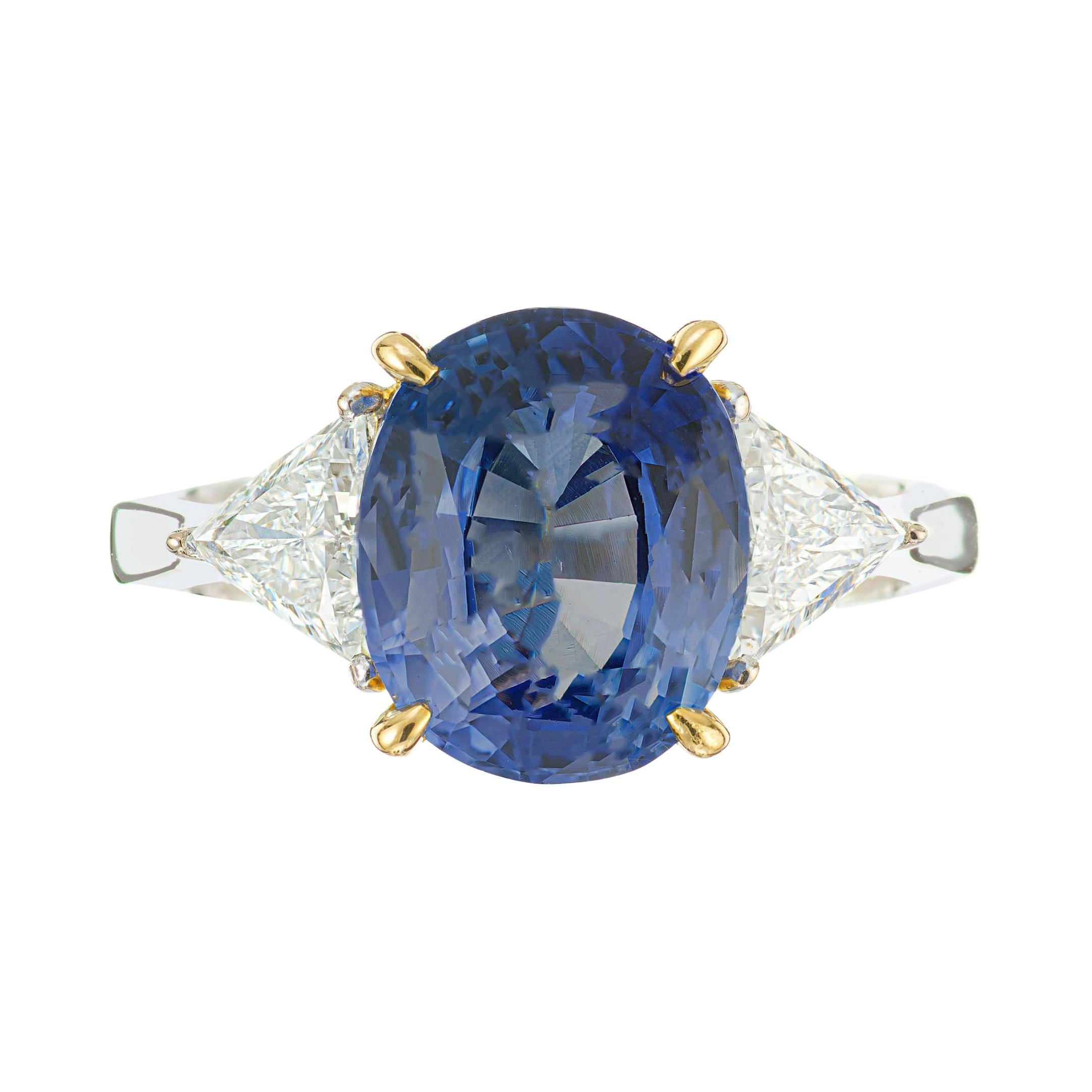 4.50 Carat Cornflower Blue Sapphire Diamond Gold Three-Stone Engagement Ring