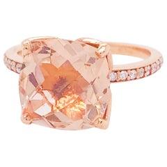 4.50 Carat Cushion Morganite and Diamond Rose Gold Ring, Custom Tulip Setting