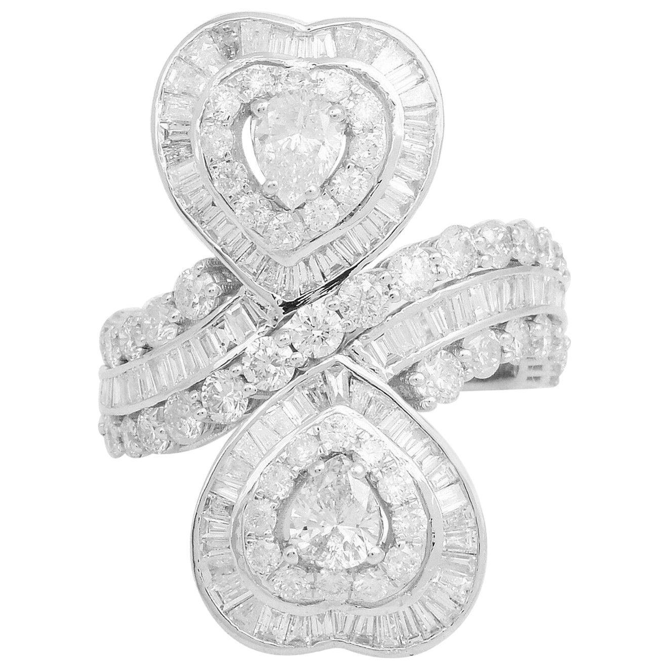 4.50 Carat Diamond 18 Karat Gold Twin Heart Love Ring