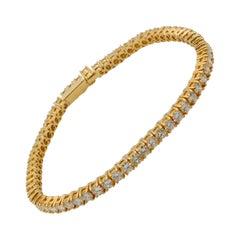 4.50 Carat Diamond and 18 Karat Yellow Gold Line Bracelet