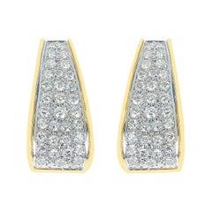 4.50 Carat Diamond Block-Style Earrings, 18 Karat Yellow Gold