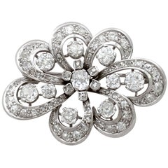 4.50 Carat Diamond White Gold Brooch, Antique Edwardian