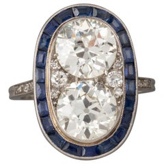 4.50 Carat Diamonds and Sapphires French Antique Ring