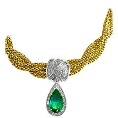 GIA Certified 4.50 Carat Emerald Diamond Necklace 14kt Yellow Gold