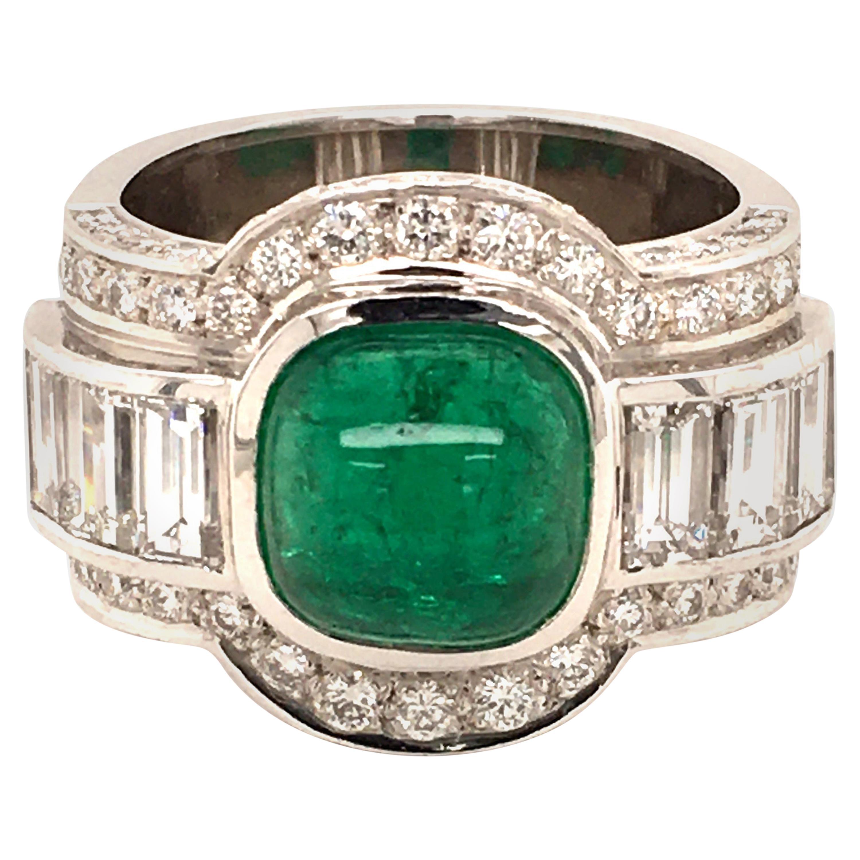 4.50 Carat Emerald and Diamond Ring in 18 Karat White Gold