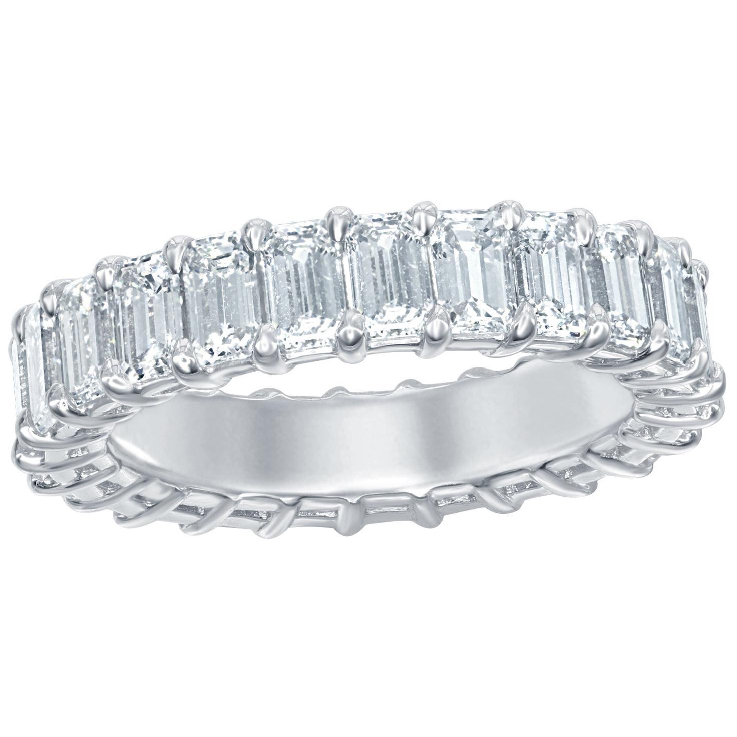 4.50 Carat Emerald Platinum Eternity Ring