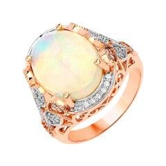 4.50 Carat Ethiopian Opal and Diamond 14 Karat Rose Gold Ring