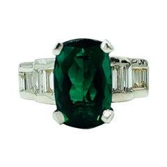 4.50 Carat Fine Green Tourmaline with Diamonds 14 Karat Gold