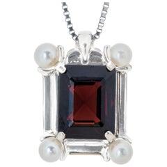 4.50 Carat Garnet Pearl White Gold Pendant Necklace