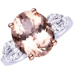 4.50 Carat Genuine Morganite and Diamond 14 Karat Two-Tone Gold Ring