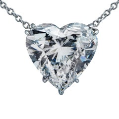 Vivid Diamonds 4.50 Carat Heart Shape Diamond and Platinum Necklace