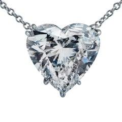 4.50 Carat Heart Shape Diamond and Platinum Necklace