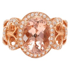 4.50 Carat Impressive Natural Morganite and Diamond 14K Solid Rose Gold Ring