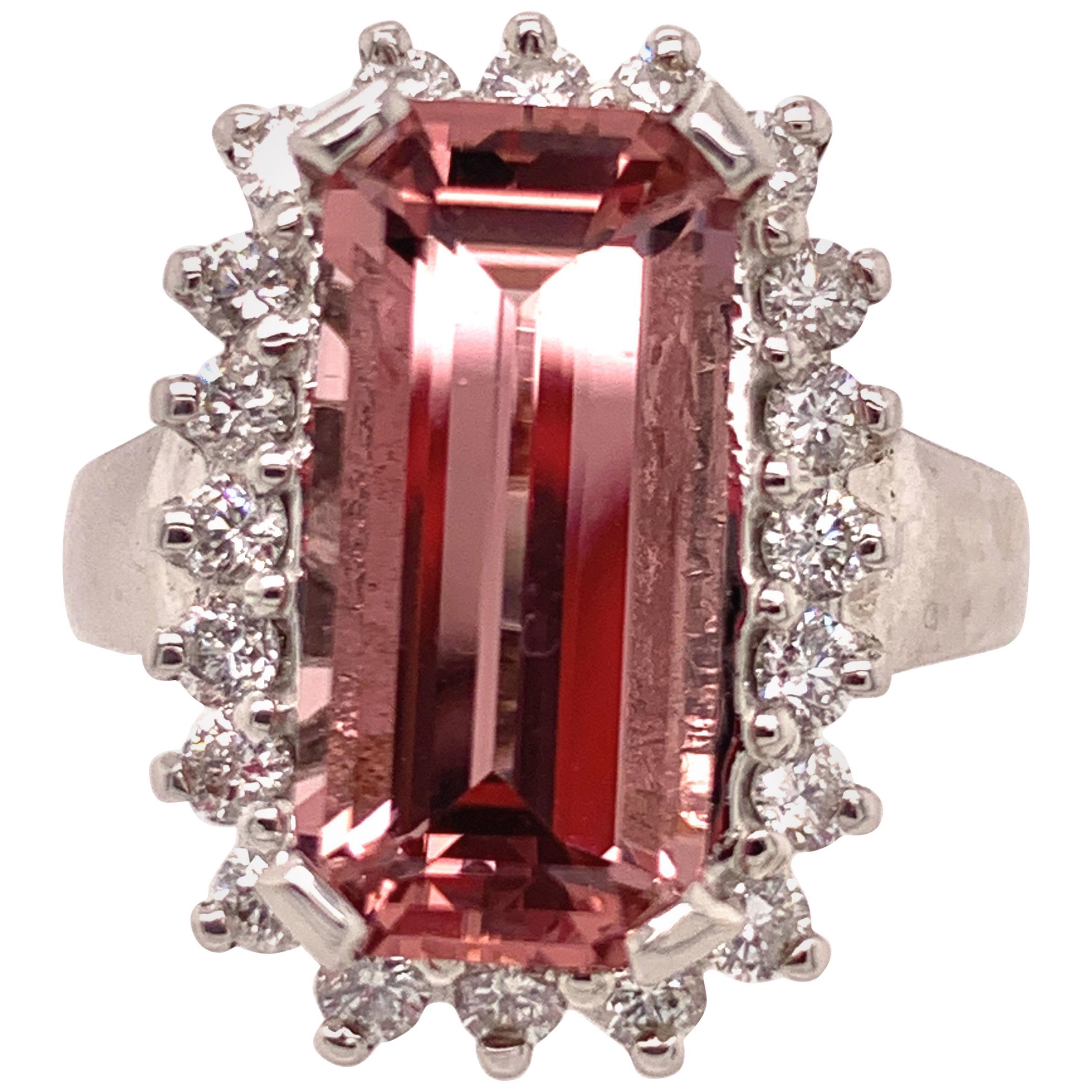 4.50 Carat Morganite and Diamond Gold Ring
