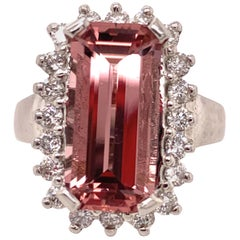 4.50 Carat Morganite and Diamond Gold Ring