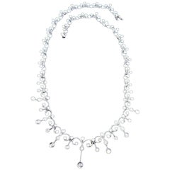 4.50 Carat Natural Diamonds Edwardian Deco Necklace 18 Karat