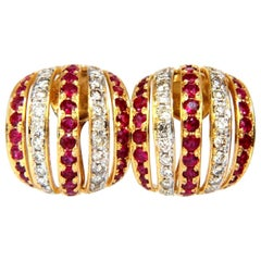 4.50 Carat Natural Red Ruby Diamond Earrings 14 Karat Bead Set Five-Row 3D