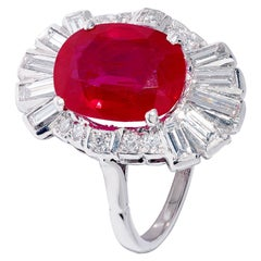 4.50 Carat Red Ruby and Baguette Diamond Ring