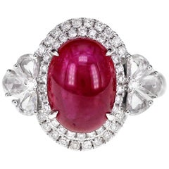 4.50 Carat Ruby with One Carat White Brilliant Diamond