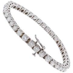 4.50 Carat Total Round Diamond 4 Prong Tennis Bracelet in 14 Karat White Gold