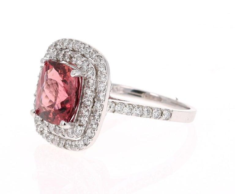 Modern 4.50 Carat Tourmaline Diamond 14 Karat White Gold Ring For Sale