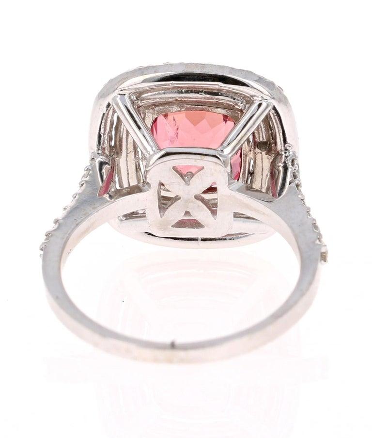 Cushion Cut 4.50 Carat Tourmaline Diamond 14 Karat White Gold Ring For Sale